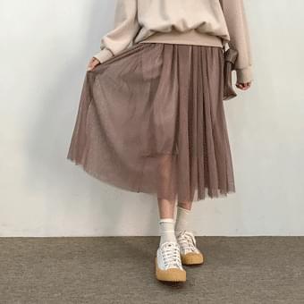Star in the sky, pleated mesh long skirt