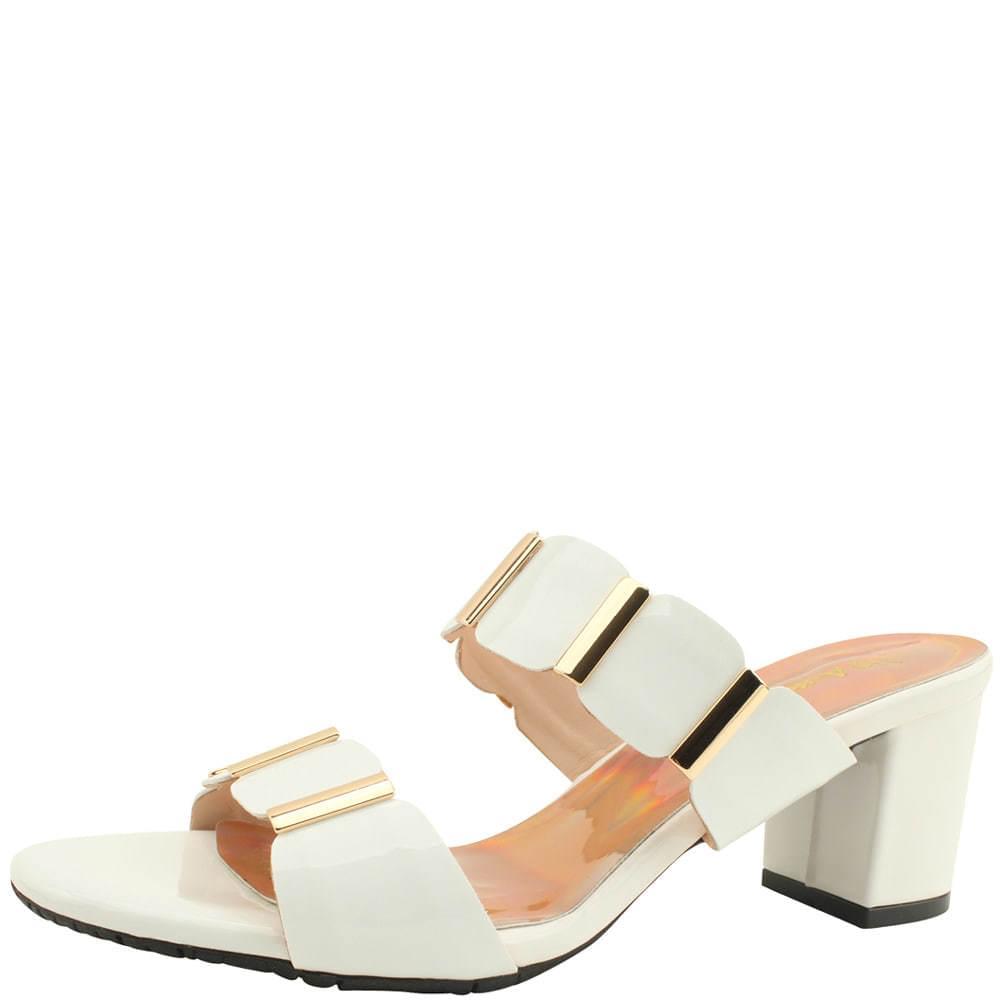 enamel strap mules middle heel slippers white