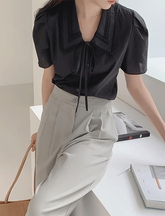 luca collar lace blouse