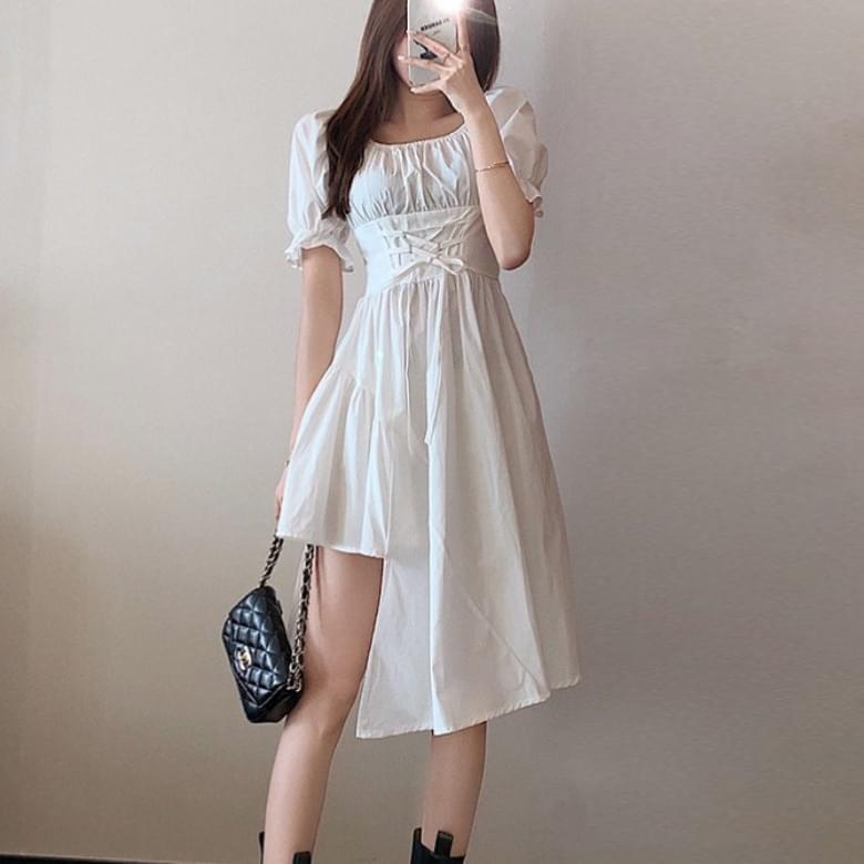Mien U neck ruffle unbalanced shirring Dress