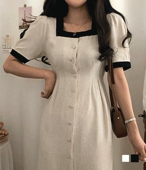 Cent Mime color matching linen pintuck long Dress