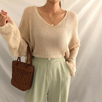 See-Through V-Neck Net Knitwear