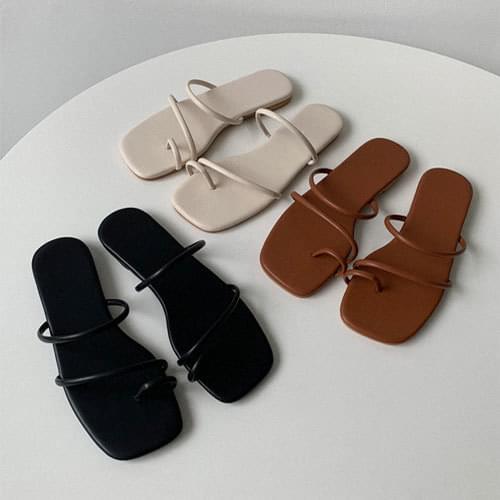 韓國空運 - 純色雙條帶套趾平底拖鞋 涼鞋