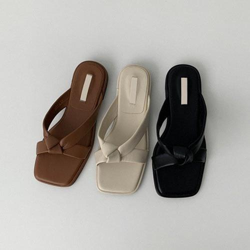 韓國空運 - 交叉扭結條帶方頭拖鞋 涼鞋