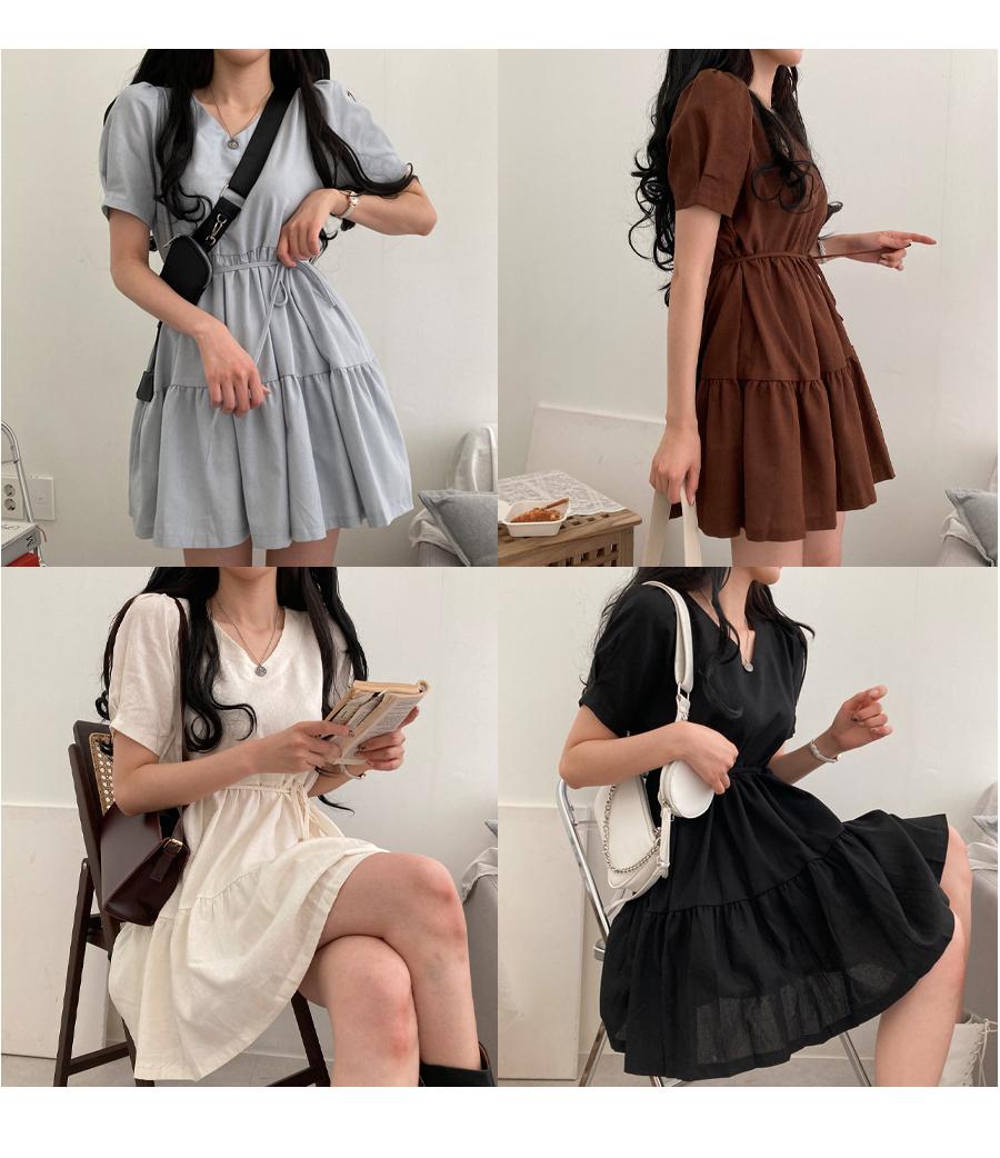 Creamy V-Neck cancan mini Dress