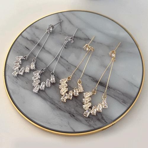 Crystal long earrings 2color A#YW023