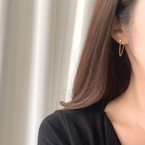 Cubic Chain Ring Earrings 2color A#YW041