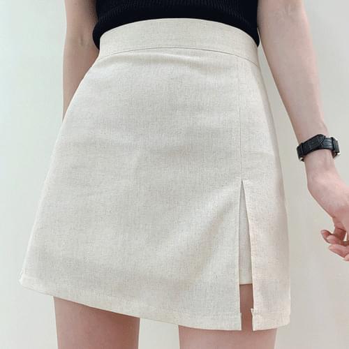 Linen V Natural Split Mini Skirt Skirt Shorts P#YW645