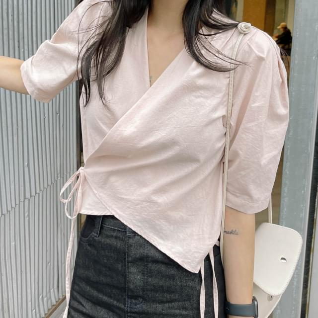 Lovely puff shoulder wrap blouse