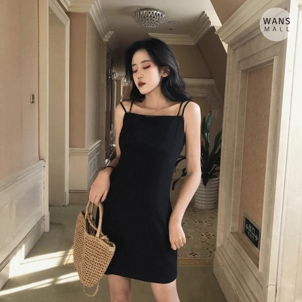 op0005 Two Sleeveless Strap Layered Black Mini Dress (Delayed delivery)