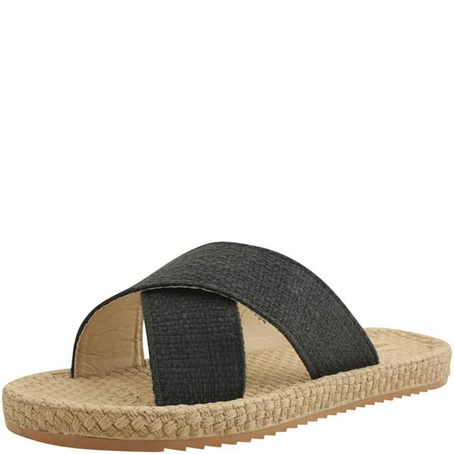 韓國空運 - Linen Cross Strap Slippers Black 涼鞋