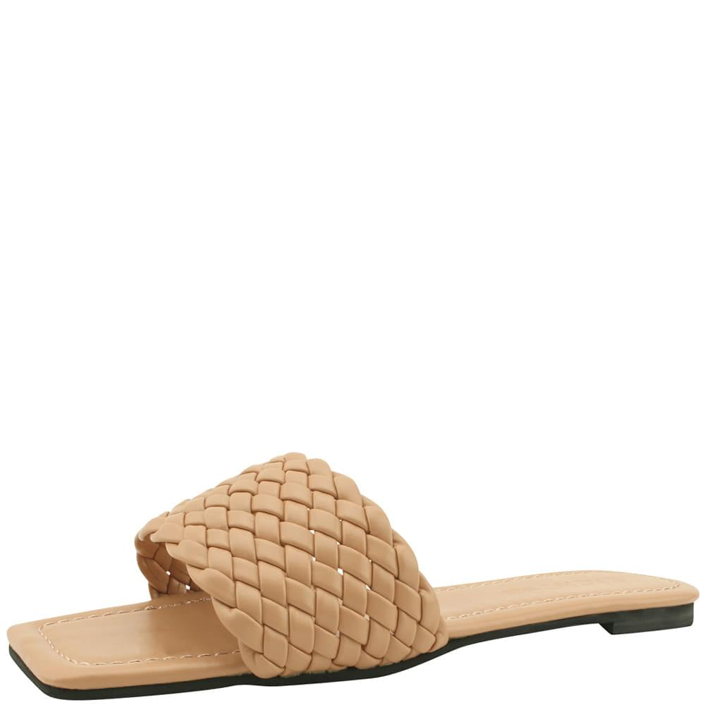 Square toe weave strap slippers beige