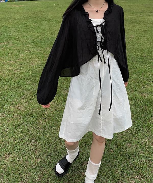 uni frill strap cardigan