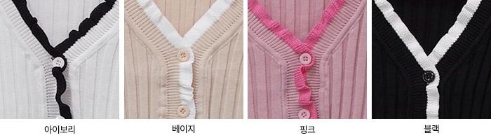 Bosch Color Ruffle Ribbed Knitwear Cardigan