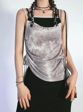 tie-dye shirring Sleeveless