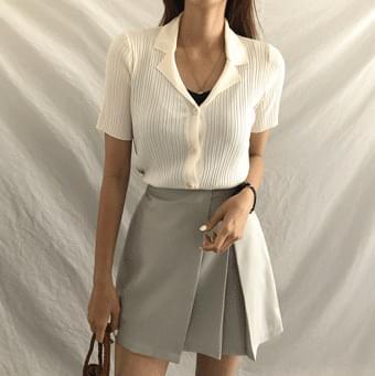 mini collar short sleeve Ribbed cardigan