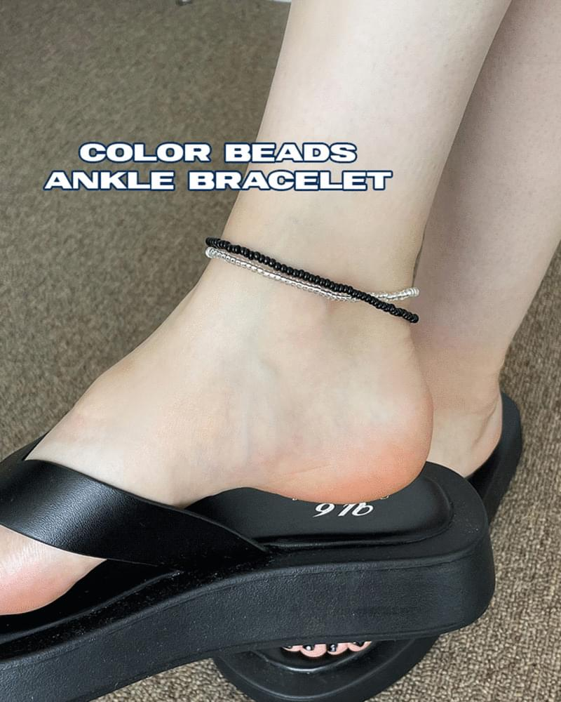 Undy kitsch color beaded layered anklet 配飾