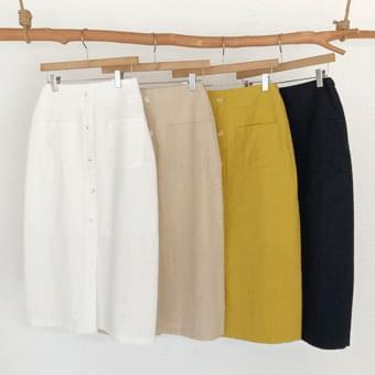 Two-pocket, front slit long skirt