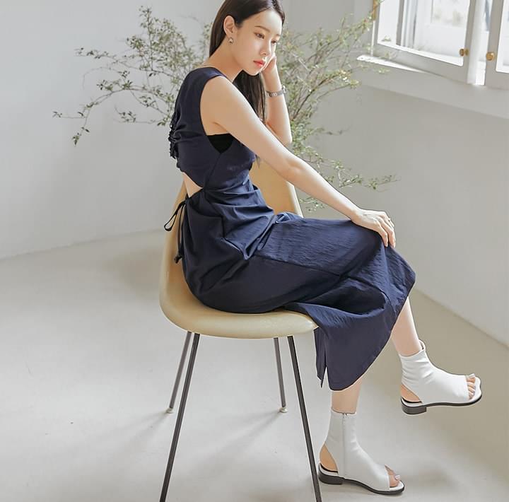Cutout Back Sleeveless Long Dress