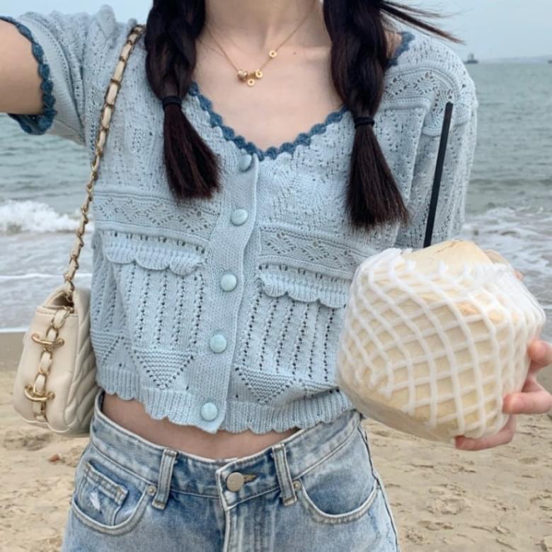 Lovely Wavy V Neck Punching Knitwear Short Sleeve Cardigan