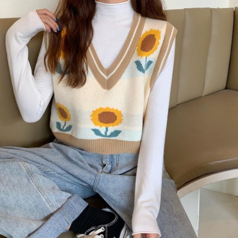 V Neck Summer Sunflower Vest Knitwear Vest