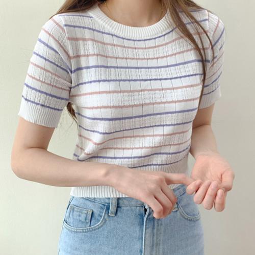 Punching Stripe Striped Short Sleeve Knitwear T-shirt T#YW779