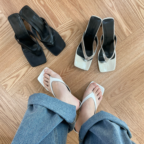 Square split slippers sandals heel mules S#YW006