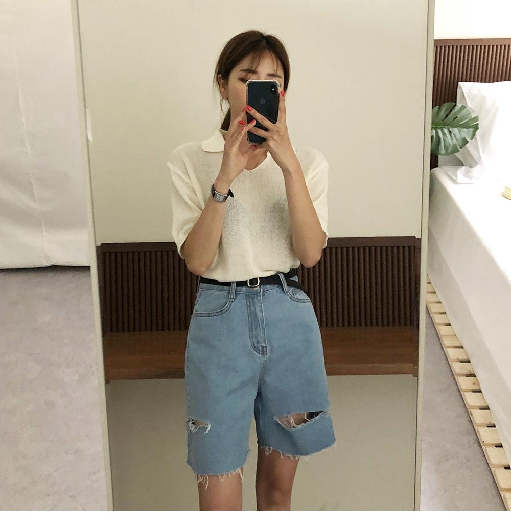 Trendy, denim pants with 5 side damage