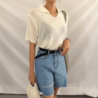 See-through, no button book collar short sleeve knitwear