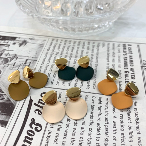 Pastel two-tone earrings 4color A#YW040