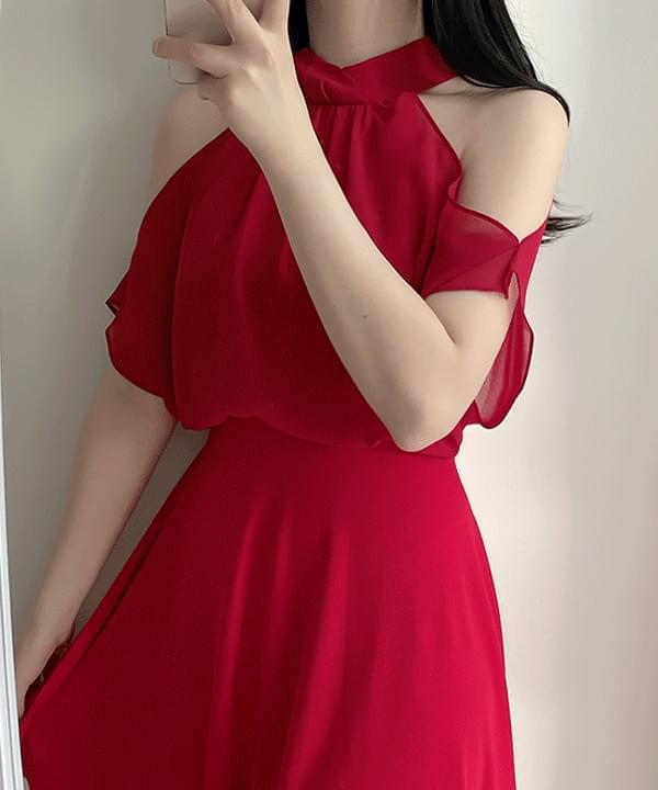 Queen Ribbon Halter Chiffon Dress 2color