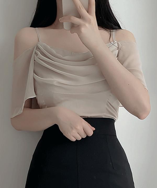 Laren frill shoulder blouse 3color