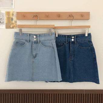 Two-button, A-line hem cut denim skirt