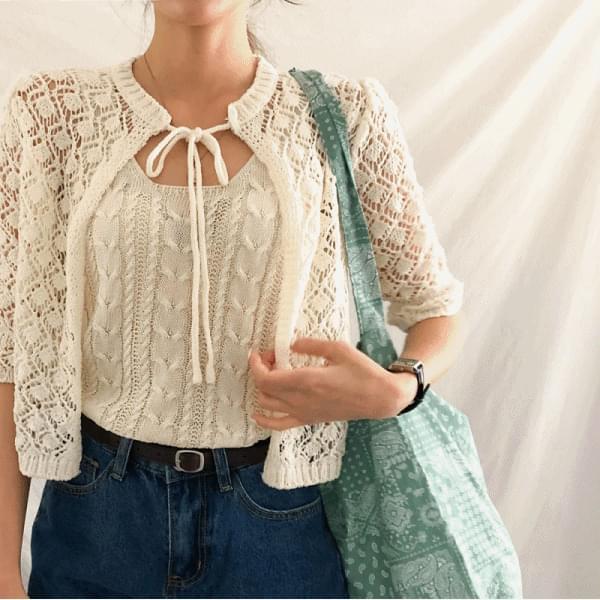 Ribbon, Crochebolero Knitwear Cardigan