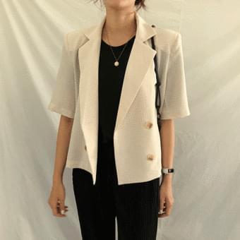Five-sleeve, high-bang check short-sleeved double jacket