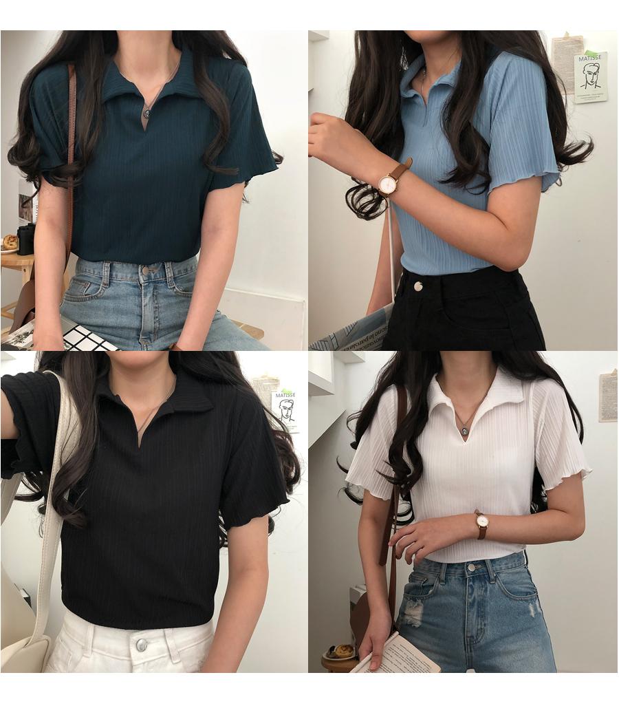 Kinu lightweight pleated collar short sleeve T-shirt