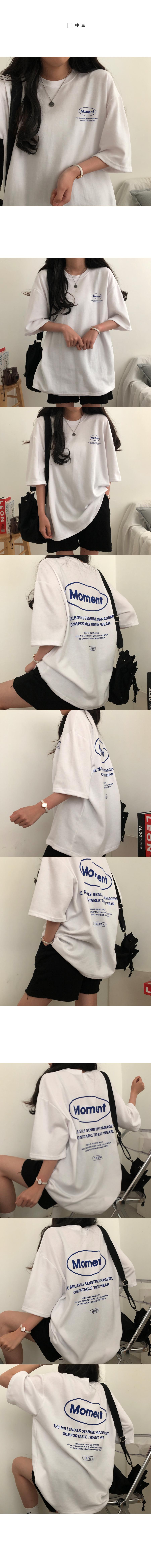 Moment back print overfit short sleeve T-shirt
