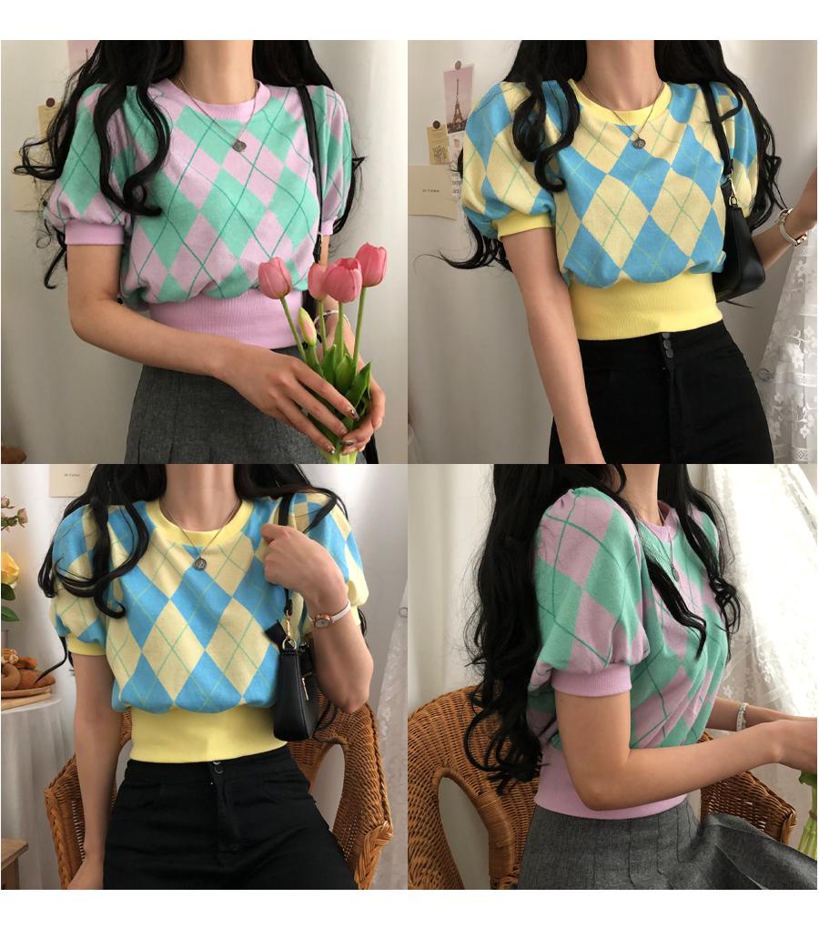 Argyle Puff Short Sleeve Crop Knitwear
