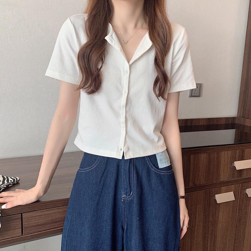 cd4990 TS simple short sleeve cardigan