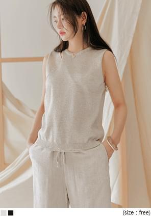 Cutout Accent Knit Sleeveless Top