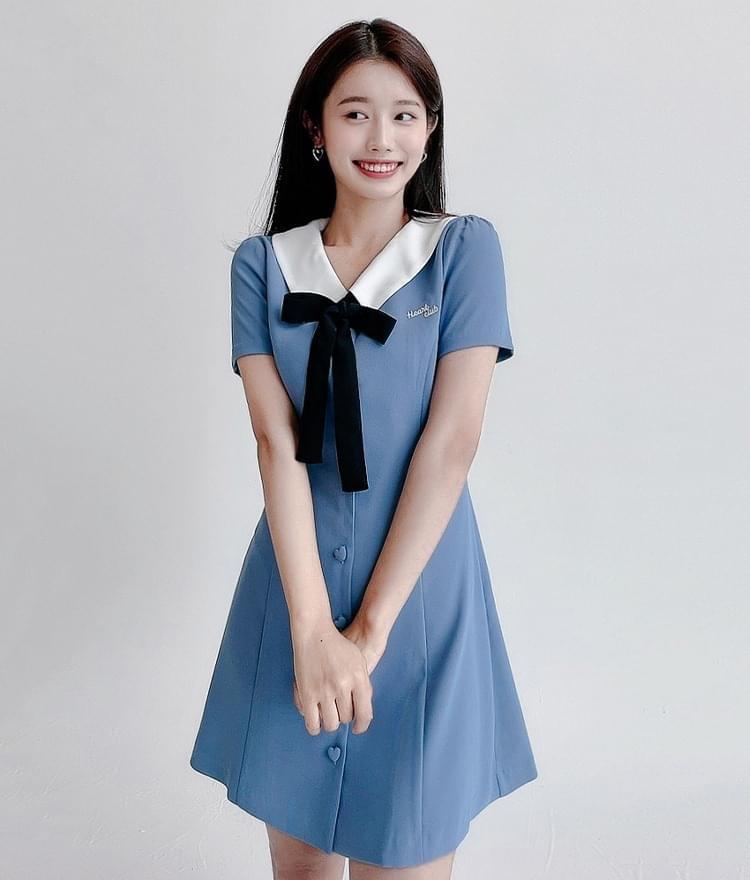 HEART CLUBRibbon Accent Button-Front Dress