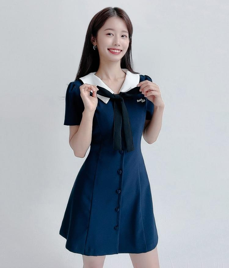 HEART CLUBRibbon Accent Collared Dress