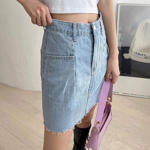 Kaya a-line denim mini skirt