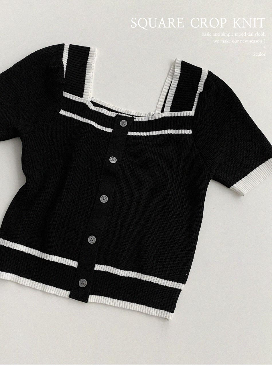 Extra Square Crop Short Sleeve Knitwear