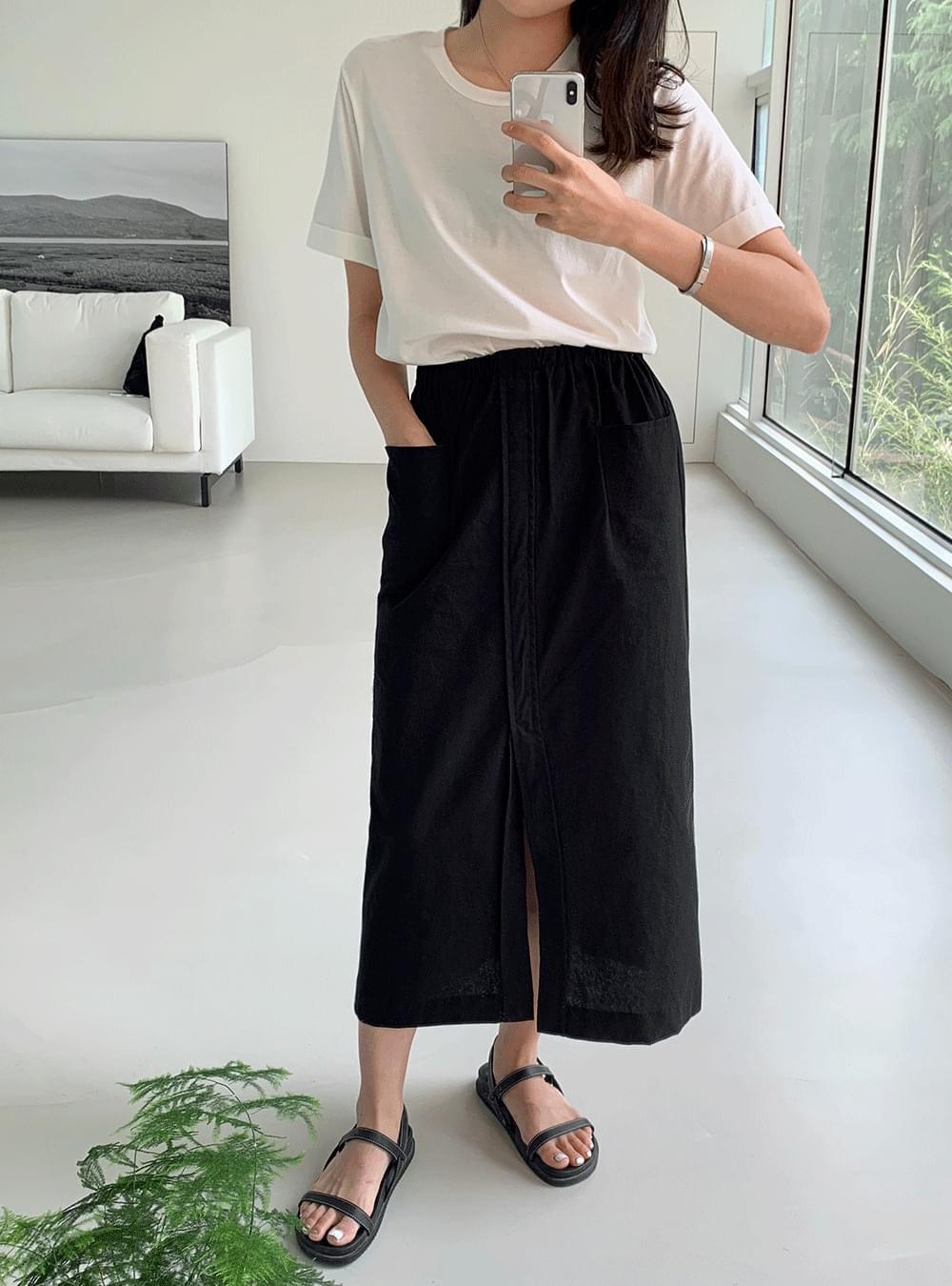 stitch slit pocket banding skirt