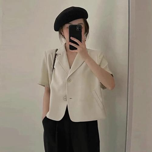 Cool Fabric Basic Collar Shoulder Two Button Short Sleeve Jacket T#YW076