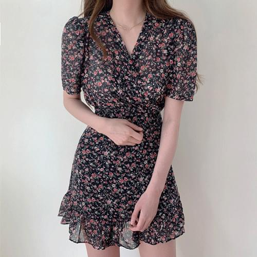Innocent Chiffon Puff Flower Wrap V-Neck Mini Ruffle Dress OPS T#YW791