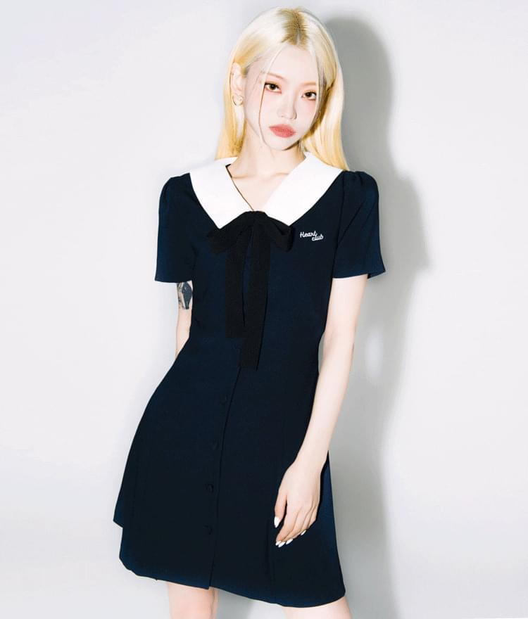 HEART CLUBCollared Button-Up Dress