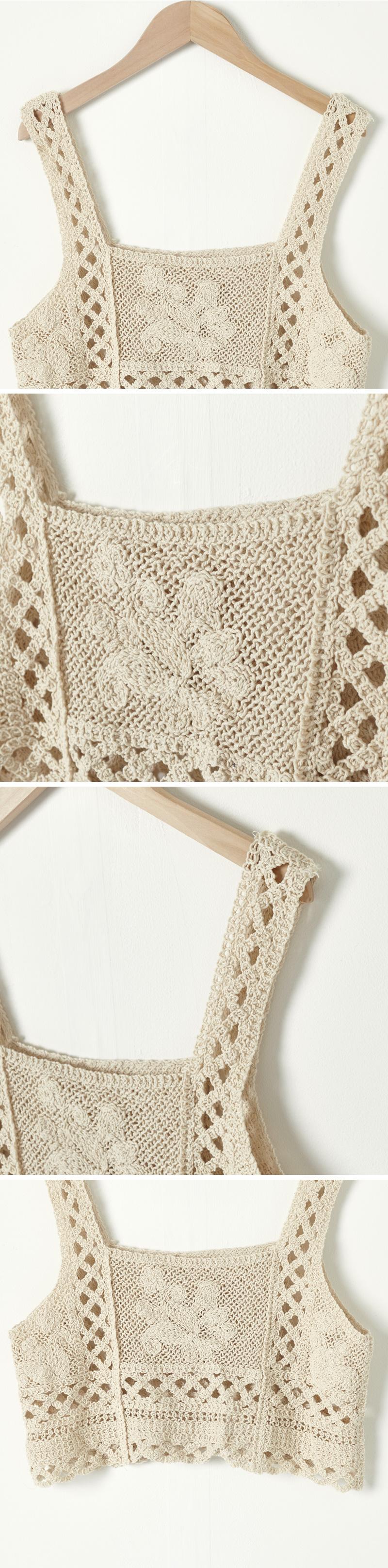 Punching Knitwear Crop Bustier