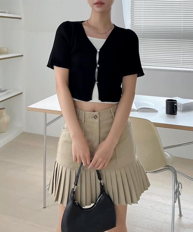 Lydian Ribbed short-sleeved cropped cardigan